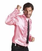 Lichtroze rouche overhemd voor heren