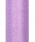 Lila paarse tule stof met glitters 15 cm breed