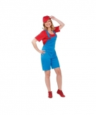Loodgieter outfit rood voor dames