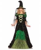 Luxe heksen jurk met ruches groen zwart