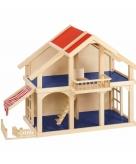 Luxe houten poppenhuis met balkon en veranda