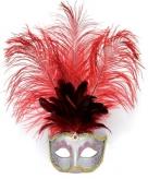 Luxe oog masker met veren