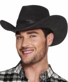 Luxe zwarte cowboyhoed wyoming wilde westen verkleedaccessoire