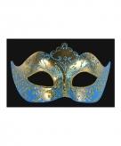 Luxueus italiaans oogmasker blauw goud