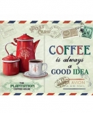 Metalen koffie thema plaatje always a good idea 15 x 20