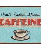Metalen koffie thema plaatje caffeine 15 x 20