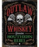 Metalen plaatje outlaw whiskey