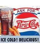 Metalen plaatje pepsi cola ice cold 30 x 40 cm