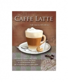 Metalen wand bordje caffe latte 15 x 20 cm