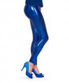 Metallic legging blauw