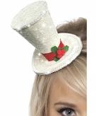 Mini kersthoed wit op haarband