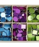 Mozaiek spiegel tegels blauw paars groen 15 mm