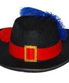 Musketier hoed met rode band