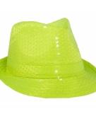 Neon geel al capone hoedje