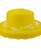 Neon gele dameshoedje met hawaiikrans