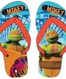 Ninja turtles flip flops lichtblauw oranje voor jongens