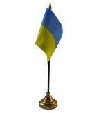 Oekraine versiering tafelvlag 10 x 15 cm