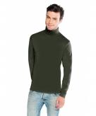 Olijf groene turtle neck t-shirt voor heren