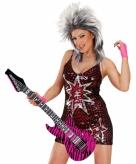 Opblaas gitaar met roze zebra print