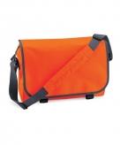 Oranje aktetassen met schouderband