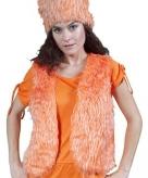 Oranje bont body warmer dames