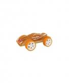 Oranje raceauto bamboe 8 cm