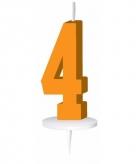 Oranje taart kaarsje cijfer 4