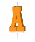 Oranje taart kaarsje letter a