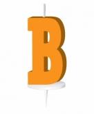 Oranje taart kaarsje letter b