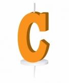 Oranje taart kaarsje letter c