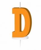 Oranje taart kaarsje letter d
