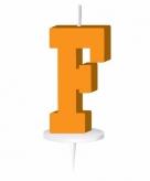Oranje taart kaarsje letter f