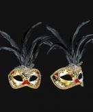 Origineel italiaans zwarte veren oogmasker