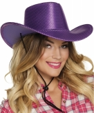 Paarse glitter cowboyhoed wilde westen verkleedaccessoire