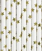 Papieren rietjes wit met gouden sterren 10 stuks