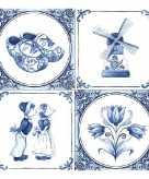Papieren servetten met delfts blauw thema print 60 stuks