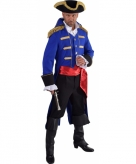 Piraat verkleed jas blauw voor heren