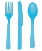 Plastic bestek setje turquoise