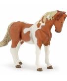 Plastic paard diertje bruin wit 10 cm