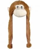Pluche apen muts met flappen 18 cm