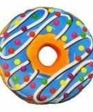 Pluche donut kussen blauw 38 cm