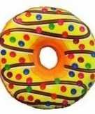 Pluche donut kussen geel 38 cm