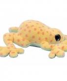 Pluche kikker knuffeltje donker geel met roze 15 cm