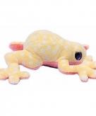 Pluche kikker knuffeltje licht geel met wit 15 cm