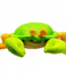 Pluche krab knuffeldier groen oranje 23 cm