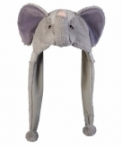 Pluche olifanten muts met flappen 18 cm