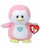 Pluche roze pinguin ty beanie baby penny 17 cm