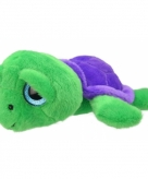 Pluche schildpad knuffeldier groen paars 24 cm