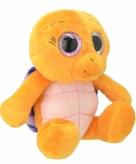 Pluche schildpad knuffeldier oranje paars 18 cm