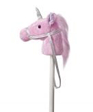Pluche stokpaardje van een roze eenhoorn met geluid 94 cm